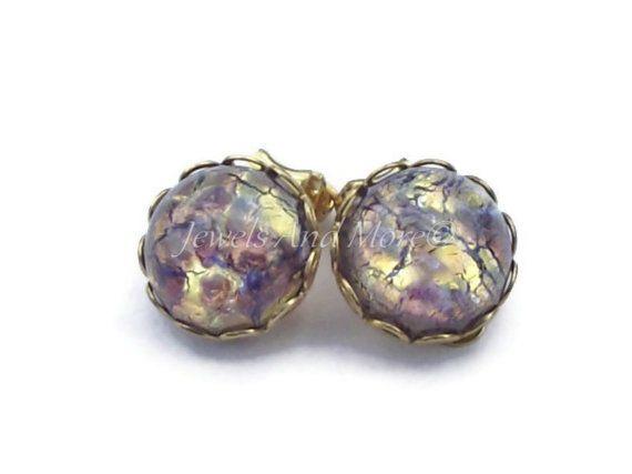 Amethyst Opal Clip On Earrings Birthstone Earrings, Purple Earrings