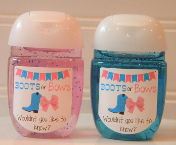 Boots Or Bows Gender Reveal Hand Sanitizer Baby Shower Favors