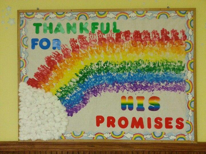 Bulletin board idea for church! Rainbow is handprints from the kids in my Sunday School class.