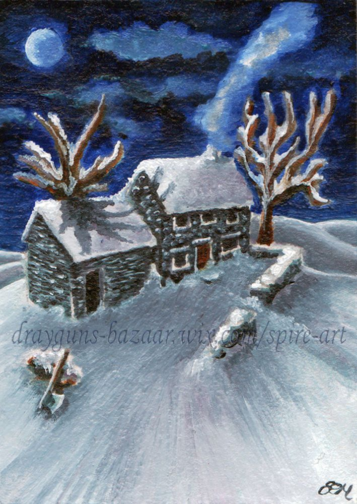 ACEO TW FEB Original Art Winter Night Snow Cottage Landscape Painting SMcNeill #Miniature #ebay #aceo #art #snow #cottage #oil #painting