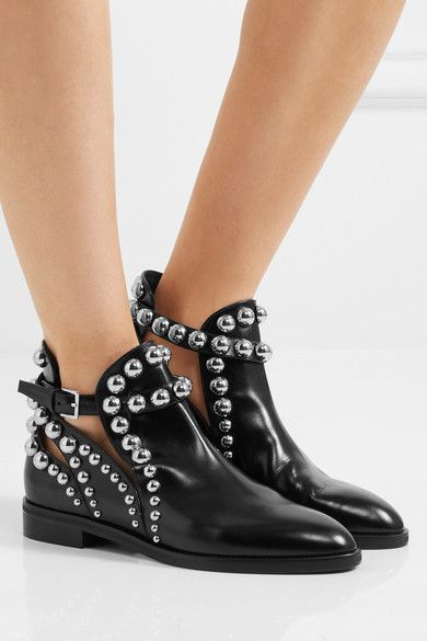 Alaïa | Cutout studded glossed-leather Chelsea boots | NET-A-PORTER.COM