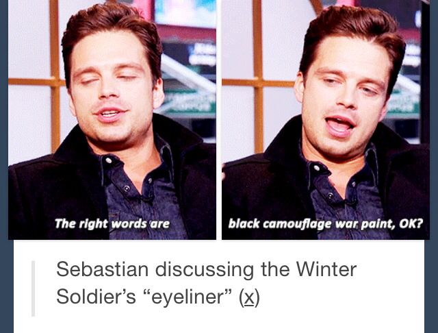 "Sebastian discussing the Winter Soldier's ""eyeliner"""