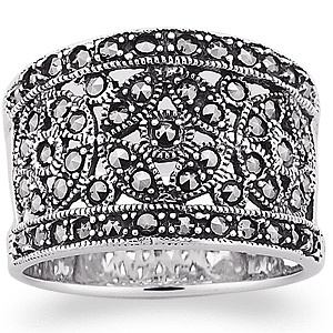 Buy Victorian Inspired Sterling Silver Marcasite Band at Limoges :  sterling silver marcasite jewelry ring