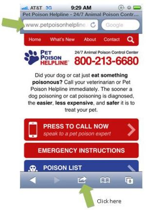 Pet Poison Helpline  on your smart phone. Add it to your homepage, today.