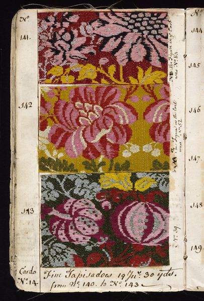Pattern Book . Norwich, UK. 1763.  John Kelly. Worsted samples. # 67-1885.