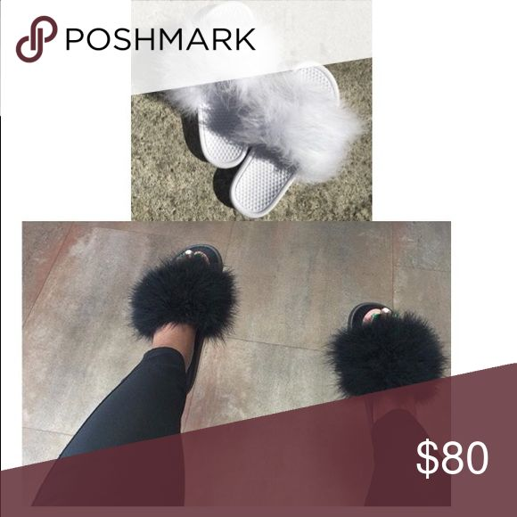 White Nike and Black faux fur slippers bundle All white on white Nike and black on black faux fur slippers. Nike Shoes Slippers