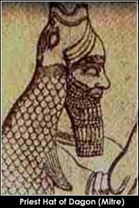 In their official capacity of priests of Dagon, an ancient god of Babylon and Philistia, the Chief priests wore a headdress representing a sun-fish, the head with open mouth worn as a mitre and the rest of the fish body forming a cloak.