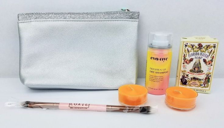 Ipsy Makeup Bag Bundle Soap Luxie Brush Dry Shampoo Juicy Clementine Tealights #Ipsy