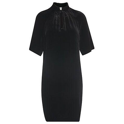 Buy Whistles Tie Neck Silk Velvet Dress, Black Online at johnlewis.com