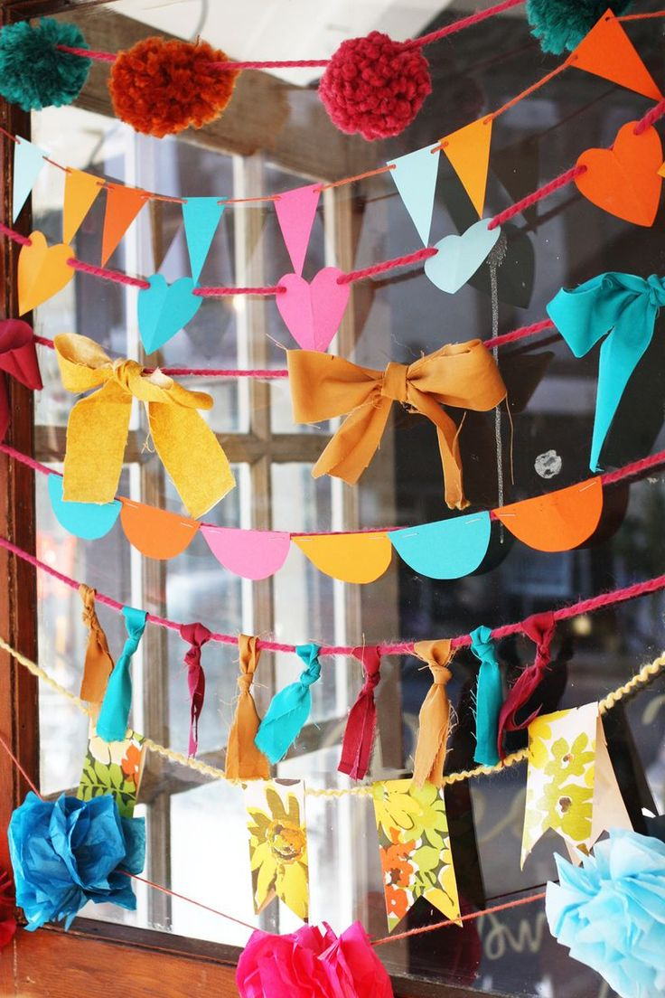 : Parties Decorations, Party'S, Diy'S, Diy Garlands, Bows, Parties Ideas, Garlands Ideas, Banners, Crafts