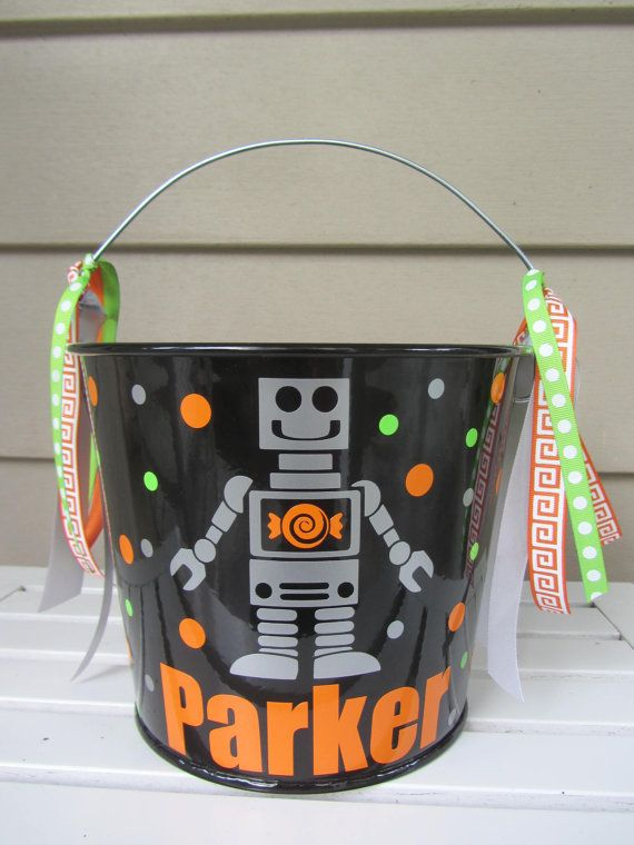 Personalized Halloween trick or treat bucket by DottedDesigns