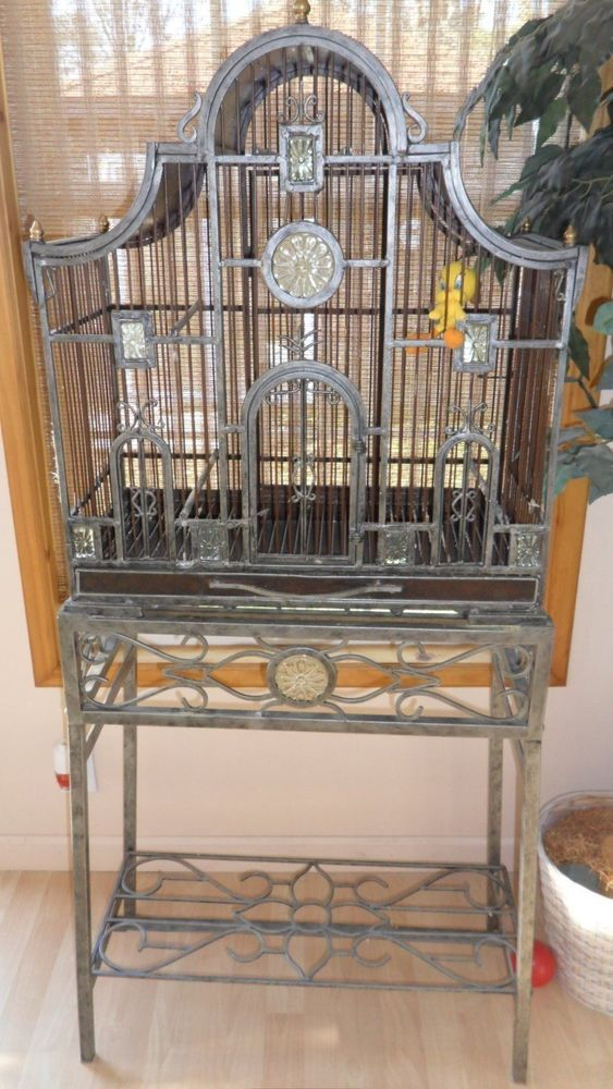 bird cage planter stand heavy metal and very unique in 2019 birdcage bird cage stand pet. Black Bedroom Furniture Sets. Home Design Ideas