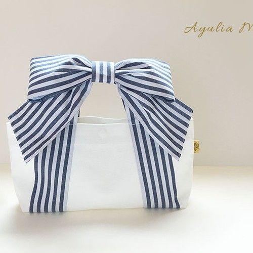 リボントート* mignon (ネイビーストライプ×ホワイト帆布)