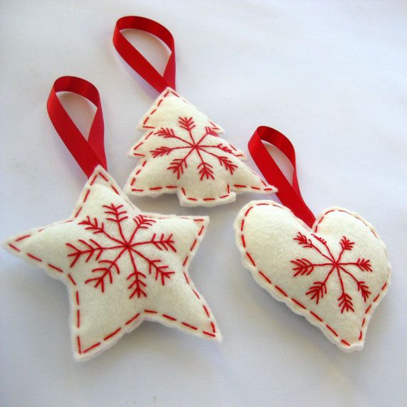 Scandinavian Christmas Felt Hanging Decorations by FantooshbySonia