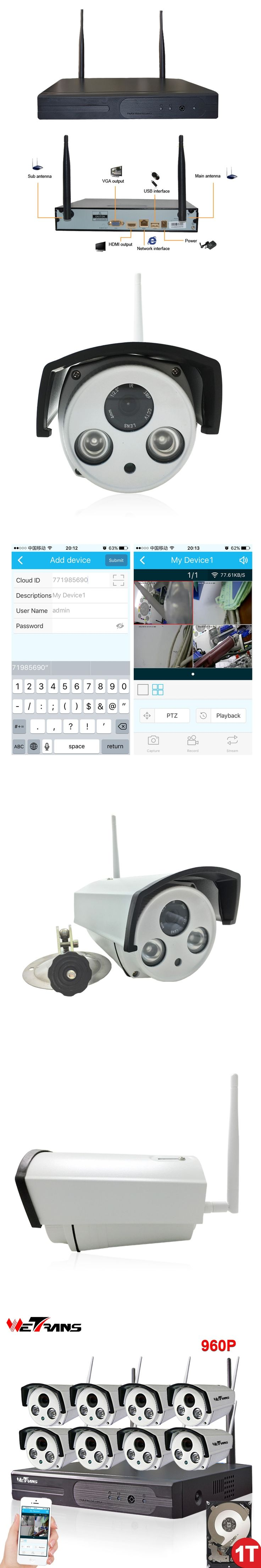 CCTV 8CH Wifi NVR Kit 20m Night Vision Waterproof P2P 960P HD 1.3MP Wireless CCTV Camera Kit Home Video Security Camara System