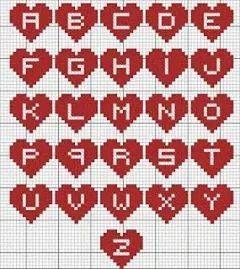 クロスステッチパターン(ハートの中のアルファベット)