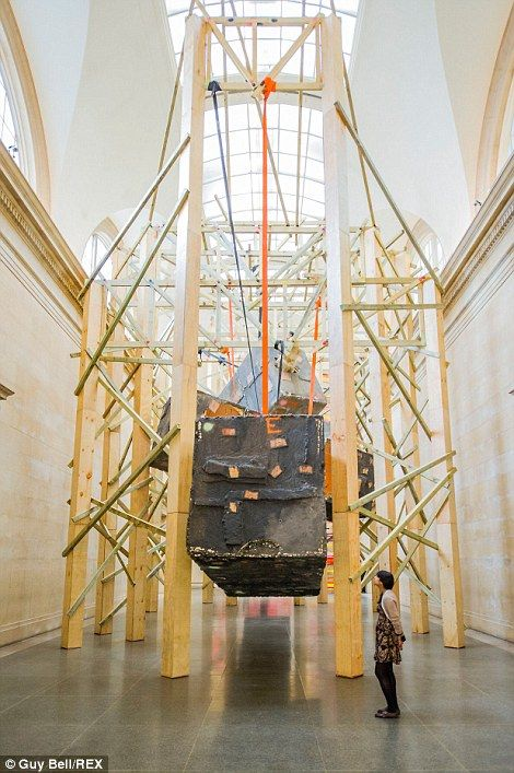 Phyllida Barlow, Construction: Another part of the exhibition includes boxes being hung from wooden frames
