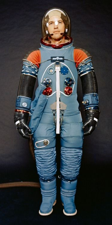 Apollo space suit without outer layer or helmet