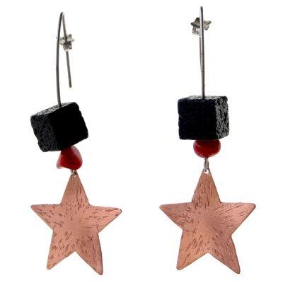 Σκουλαρίκια αστέρια από χαλκό