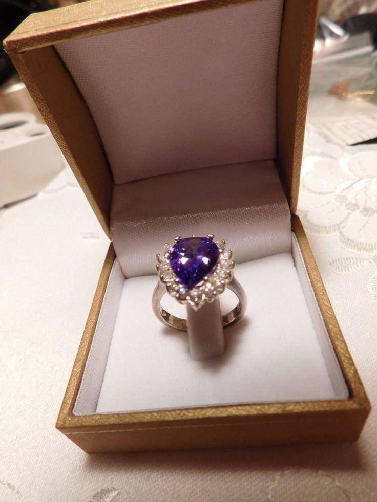 Large 925 silver fancy pear cut purple cz ring | eBay
