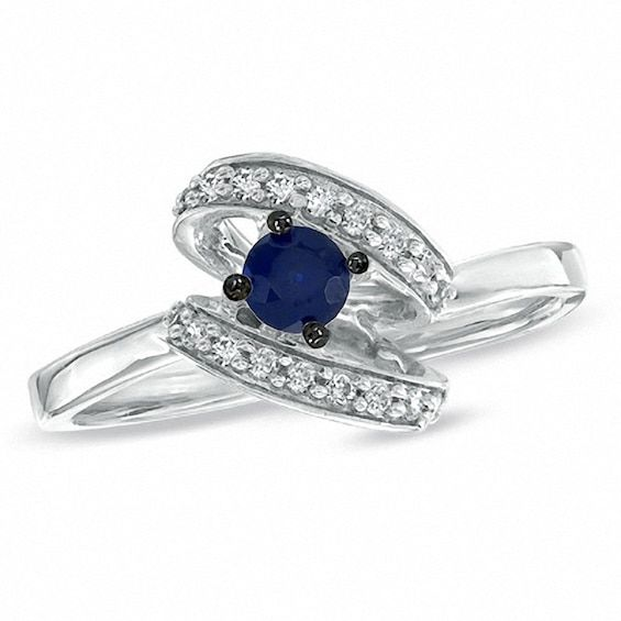 Lab Created Blue Sapphire And 1 10 Ct T W Diamond Swirl Ring In 10k White Gold Swirl Diamond Ring Diamond Swirl White Gold