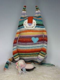 Wool felted sweater turned monster softie...cute inspiration!