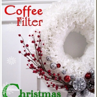Coffee filter wreath   Christmas   Pinterest