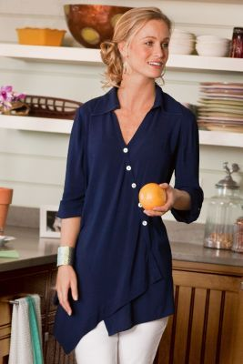 Love the color and unique cut....no longer available though...so sad!  Cannes Tunic from Soft Surroundings