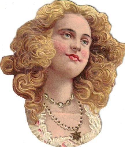 Victorian Die Cut Scrap Blue Eyed Blonde Lady c1880