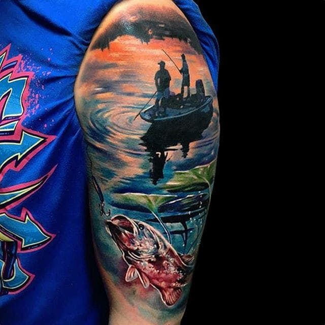 8 Fishy Fishing Tattoos Sleeve Tattoos Tattoos For Guys Bass Fishing Tattoo