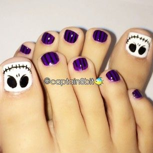 Instagram photo by captain8bit - cant go on without a great halloween pedi during october! i tried to do the same jack skellington one i did from last year. i may not be able to get around to a whole lot of nightmare before christmas nail art this year, but if youve got the time, you can scroll through to find all the designs i did from last years. those were great, just real bad photo quality. :l