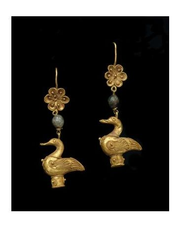 Greek, Hellenistic. Pair of Earrings with Geese - 4th-1st century BC. Gold and green glass. MFAH