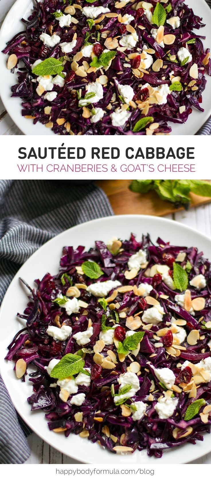 Warm Red Cabbage with Cranberries, Goats Cheese  Almonds - gluten free, paleo-ish and primal recipe for all to enjoy.