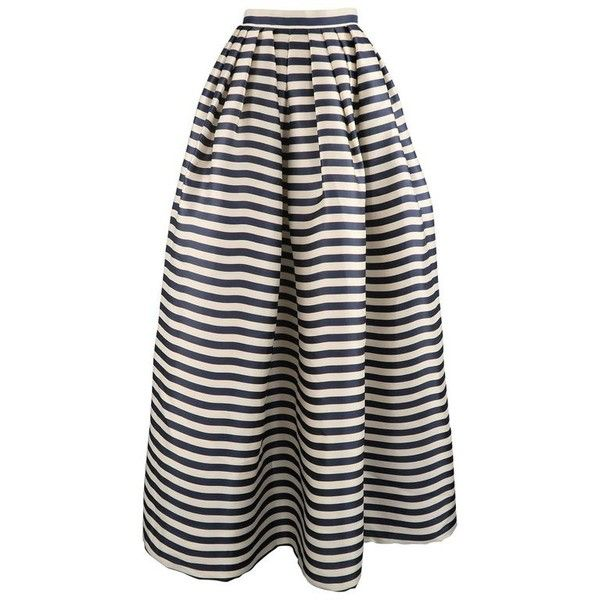Preowned Oscar De La Renta Size 6 Cream & Navy Striped Silk Pleated... ($1,397) ❤ liked on Polyvore featuring skirts, flare skirts, white, navy maxi skirts, high-waisted flared skirts, high waisted pleated maxi skirt, white high waisted skirt and high-waisted maxi skirts