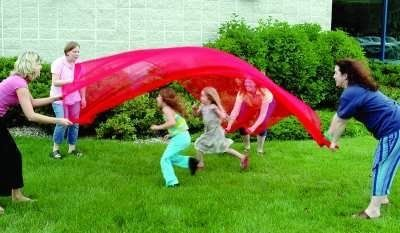 "Scarf Canopy, 9' X 9', Red by Arts Education Ideas. $27.50. The possibilities for use are as wide as your imagination!  Some ideas for possible uses:   1) Use as you would a parachute - lift up for children to run under, or add props to the middle (beach ball, leaves, cotton balls, etc.).  Have children under the canopy trying to ""hit"" props out while adults are at the edges trying to keep props in.   2) Use for dress-up and sensory integration - the canopy could be a cape..."