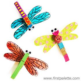 Clothespin Dragonfly craft. I'll put a magnet on the back and that can be a Mother's Day present for next year!!!