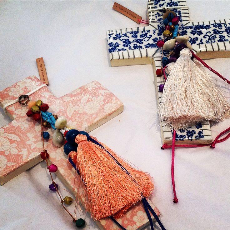 Handmade ceramic crosses by Australian artist Carla Dinnage available at Jfahri