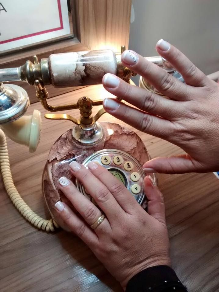 My hand and retro telephone
