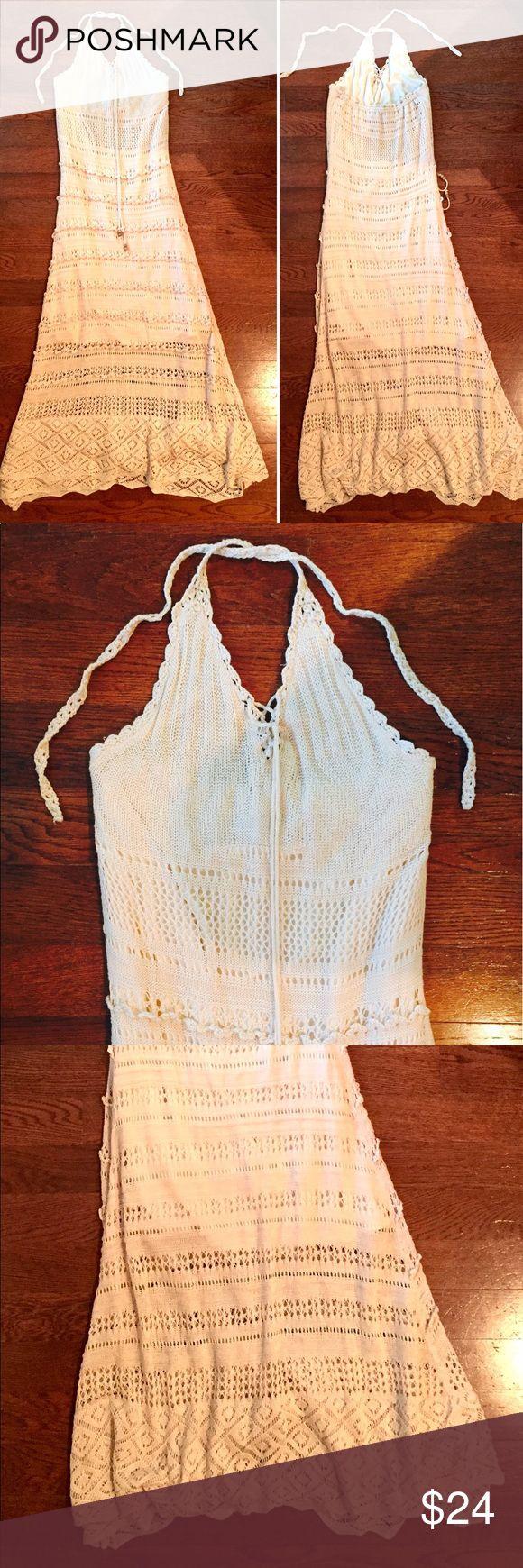 Solitaire Swim Cover Up Dress White Crochet Maxi Solitaire Swim Cover Up Dress White Crochet Lace Maxi Halter Sleeveless Size Medium M Preowned good condition solitare swim Dresses Maxi
