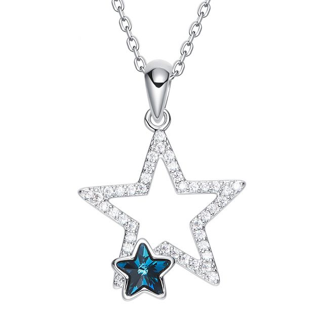 7e86e83be2a59 Crystals From Swarovski Women Necklace Pendant Blue Star Shaped ...