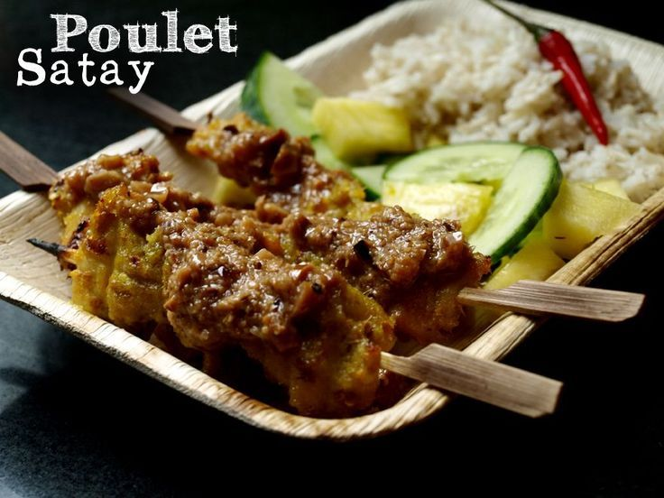 Brochettes poulet satay, sauce cacahuètes
