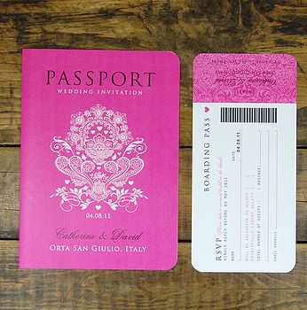Passport to Love with Boarding Pass RSVP Card