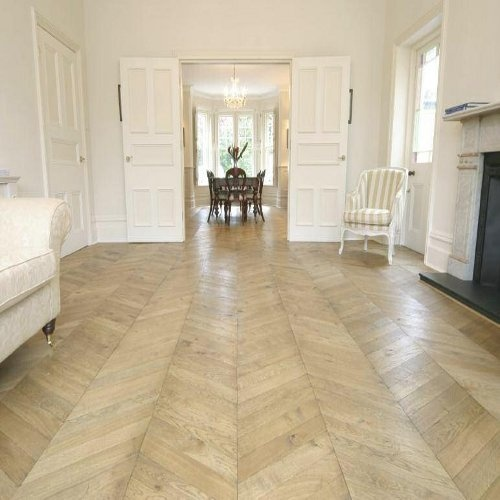 Distressed Chevron Parquet Flooring