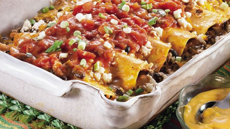 Black Bean Enchilada Casserole  Bake a colorful and great-tasting casserole that begs for a fiesta!