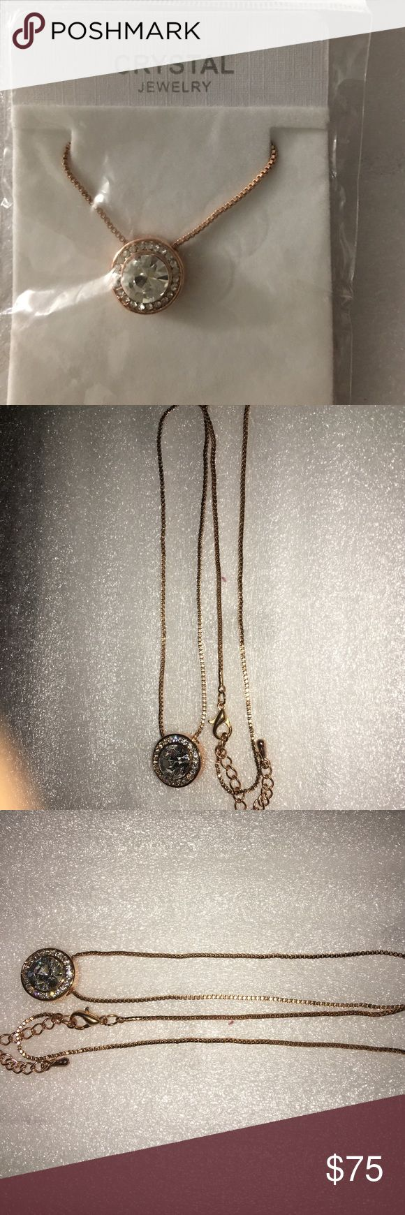 14k gold plated necklace, crystal & gold pendant Beautiful 14k gold plated necklace & crystal pendant. Brand new, just make an offer I will give you good price. Jewelry Necklaces