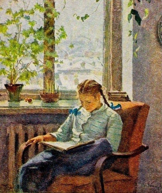 Girl reading by Tatiana Nilovna Yablonskaya, Soviet artist, 1917-2005