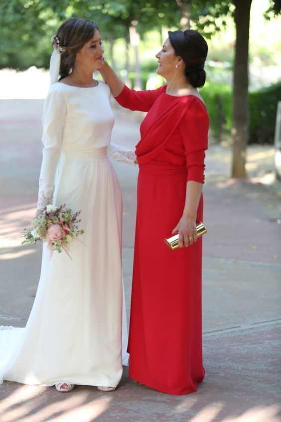 Simple Elegant Wedding Dress, Boat neck Long Sleeves Wedding Dresses, Satin Bridal Dress Wedding Gown Modest Wedding Dresses With Sleeves