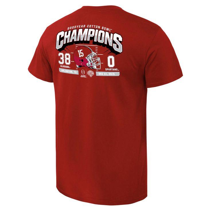 Alabama Crimson Tide College Football Playoff 2015 Cotton Bowl Champions Touchdown Score T-Shirt - Crimson - $20.89