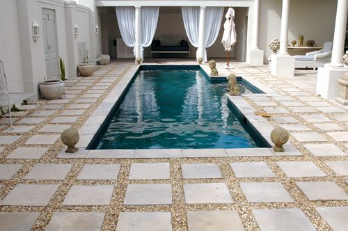 Paving and coping - Paving needn't consist solely of ordinary bricks - a wide variety of pavers are suitable for pool surrounds.