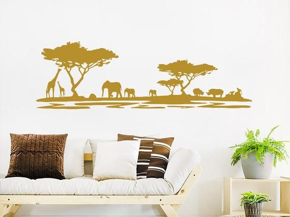 Safari Wall Decal. Jungle Vinyl Stickers. Animals African Safari Wall Decor. Safari Above Couch Wall